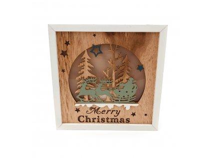 Dřevěná svítící dekorace Merry Christmas - Santa Claus na saních