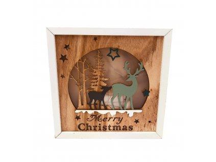 Dřevěná svítící dekorace Merry Christmas - Jelen a koloušek