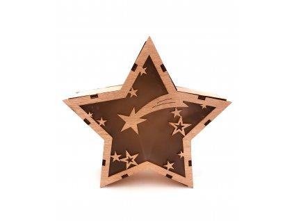 Dřevěná svítící dekorace - Hvězda s kometou