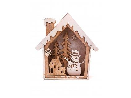 Dřevěná svítící dekorace dům - Sněhulák se stromkem