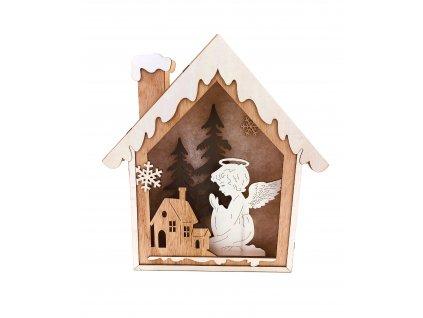 Dřevěná svítící dekorace dům - Andělíček