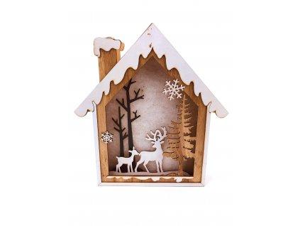 Dřevěná svítící dekorace dům - Jelen a koloušek