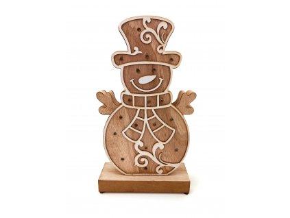 Dřevěná svítící dekorace - Sněhulák (33 cm)