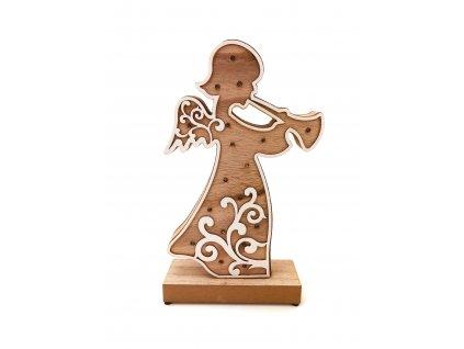 Dřevěná svítící dekorace - Anděl (33 cm)