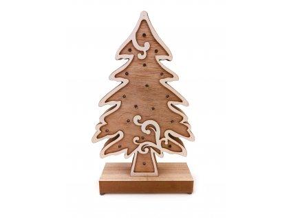 Dřevěná svítící dekorace - Vánoční strom (33 cm)