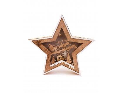 Dřevěná svítící dekorace hvězda - Santa Claus na saních