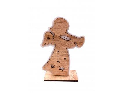 Dřevěná vánoční dekorace - Andílek (15 cm)
