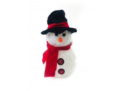 Svítící LED sněhulák - v klobouku a červené šále (20 cm)
