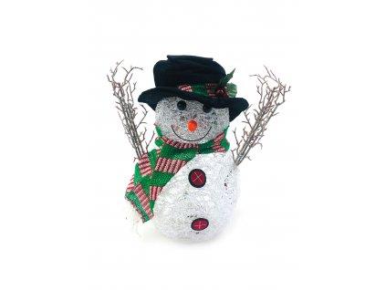 Svítící LED sněhulák - v klobouku a zelené šále (29 cm)