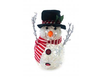 Svítící LED sněhulák - v klobouku a červené šále (32 cm)