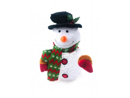 Svítící LED sněhulák - v klobouku a rukavicích (28 cm)