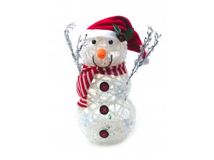 Svítící LED sněhulák - v čepici s červenobílou šálou (41 cm)