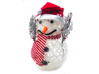 Svítící LED sněhulák - v čepici se dvěma knoflíky (47 cm)