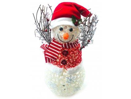 Svítící LED sněhulák - v čepici a červeném svetru (55 cm)