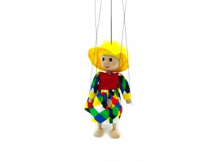 Dřevěná loutka - Klaunka v károvaných šatech (22 cm)
