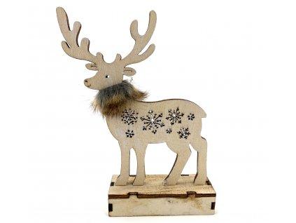 Dřevěný svítící sob - s hnědým kožíškem (25 cm)