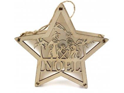 Dřevěná svítící hvězda - Noel (15 cm)