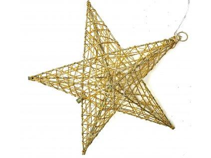 Vánoční svítící dekorace - Hvězda 16 cm (zlatá)