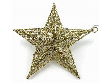 Vánoční svítící dekorace - Hvězda 16 cm (zlatá se třpytkami)