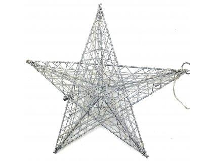 Vánoční svítící dekorace - Hvězda 32 cm (stříbrná)