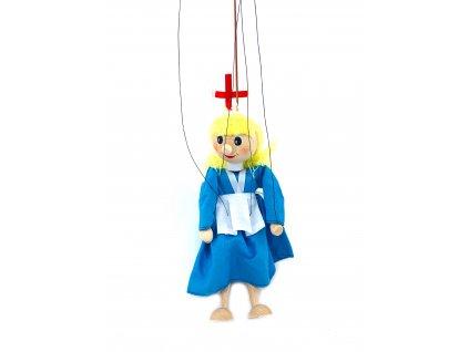 Dřevěná loutka - Zdravotní sestřička (22 cm)