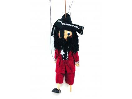 Dřevěná loutka - Pirát v červeném (22 cm)