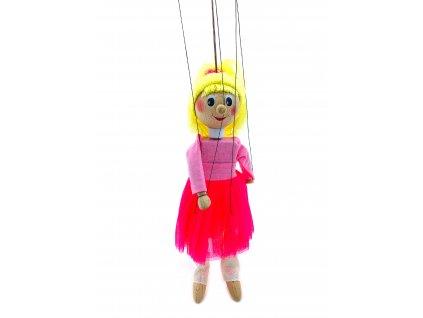 Dřevěná loutka - Baletka v růžovém (22 cm)