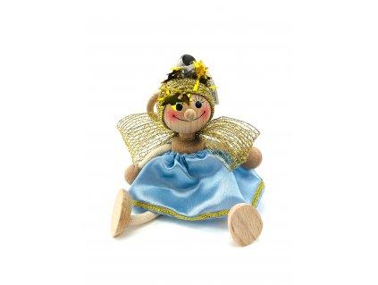 Dřevěná loutka na pružině - Anděl v modrých šatech
