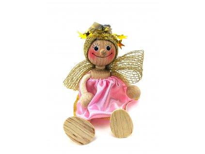 Dřevěná loutka na pružině - Anděl v růžových šatech