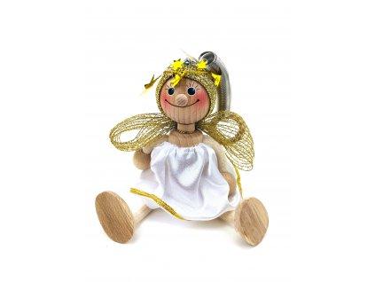Dřevěná loutka na pružině - Anděl v bílých šatech