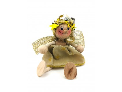 Dřevěná loutka na pružině - Anděl ve zlatých šatech