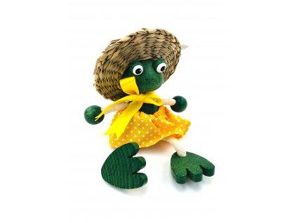 Dřevěná loutka na pružině - Žabka v sukni