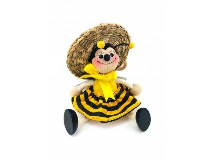 Dřevěná loutka na pružině - Včela v sukni