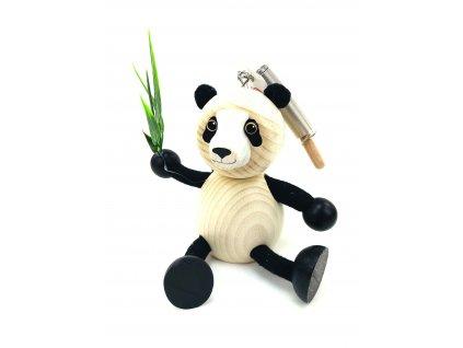 Dřevěná loutka na pružině - Panda