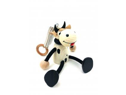 Dřevěná loutka na pružině - Kráva