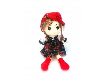 Plyšová panenka v károvaných šatech (50 cm)