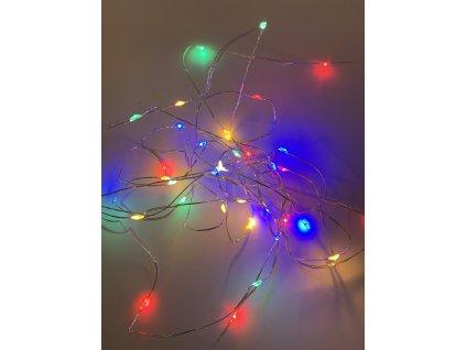 Vnitřní vánoční mikro řetěz - barevné 20 až 100 led (na baterie)