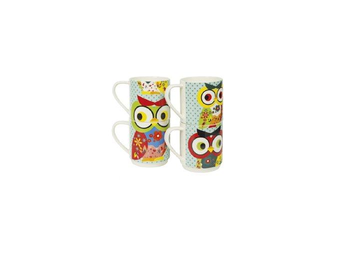 INVOTIS Sada hrnků Owl Mugs, 4 ks