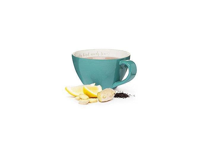 SAGAFORM Šálek XXL The early bird needs tea, 0,7 L, tyrkysový