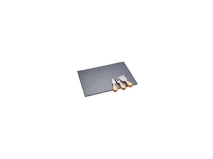 KITCHEN CRAFT Břidlicová podložka s noži na sýr Artesa / Slate Cheese Platter Set