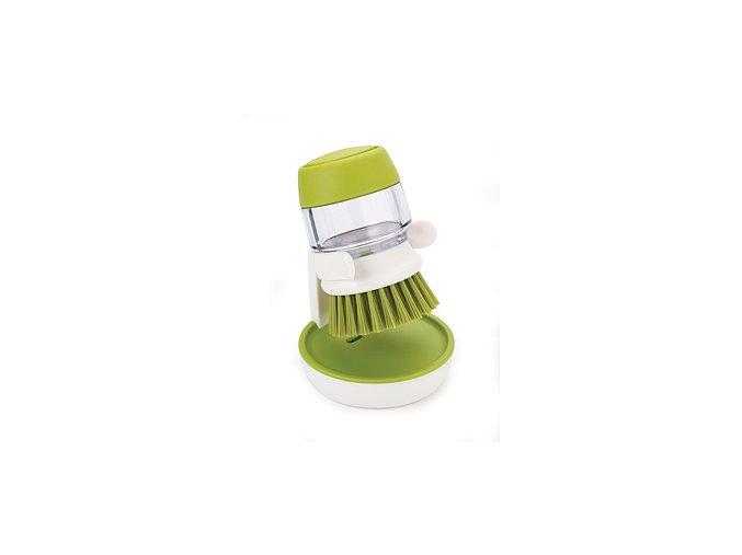 JOSEPH JOSEPH Kartáč s dávkováním saponátu Palm Scrub™, bílý - zelený