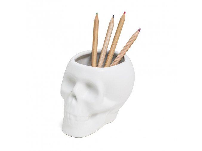 BALVI Stojánek na tužky Skull, bílý