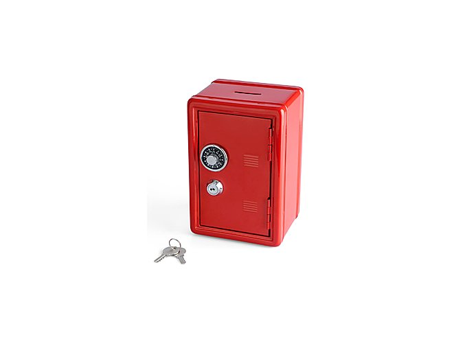 BALVI Kasička Double Lock, červená