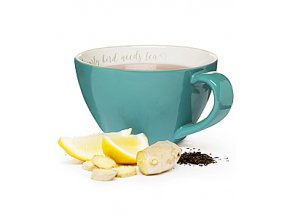 Šálek XXL SAGAFORM The early bird needs tea, 0,7 L, tyrkysový