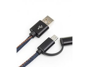 USB kabel SUCK UK USB Phone Cable Denim