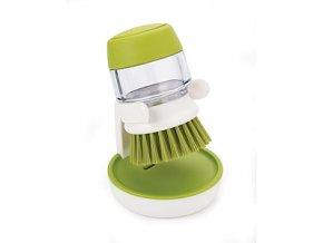 Kartáč s dávkováním saponátu JOSEPH JOSEPH Palm Scrub™, bílý - zelený