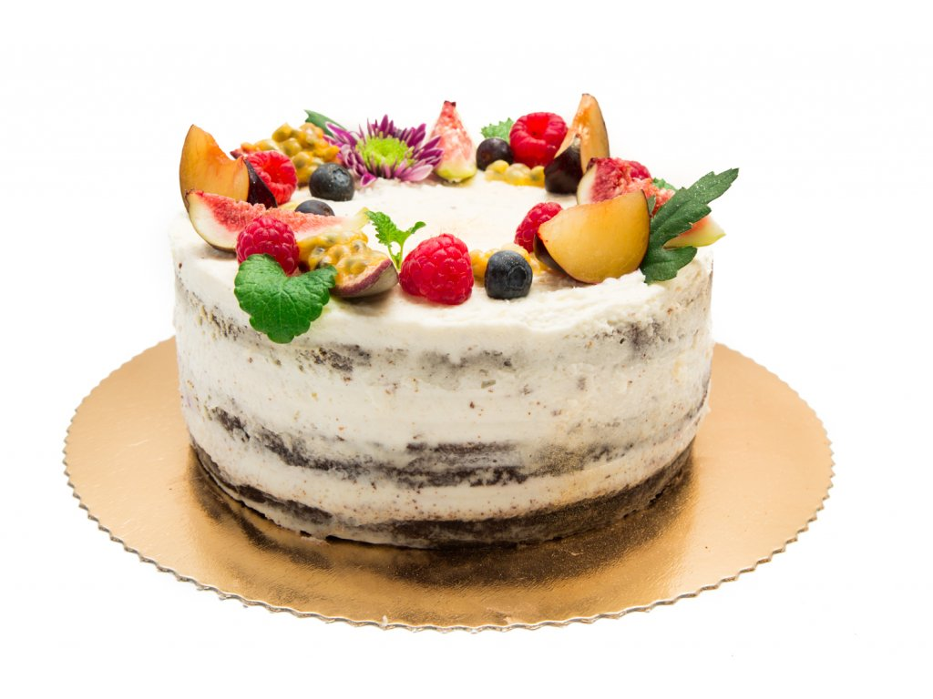čokoládová torta s ovocím