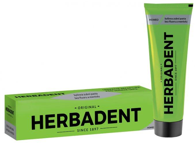Bezfluoridová nová zubní pasta Herbadent Homeo