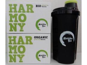 Zelený čaj v prášku Matcha Bio 2 ks  + šejkr black