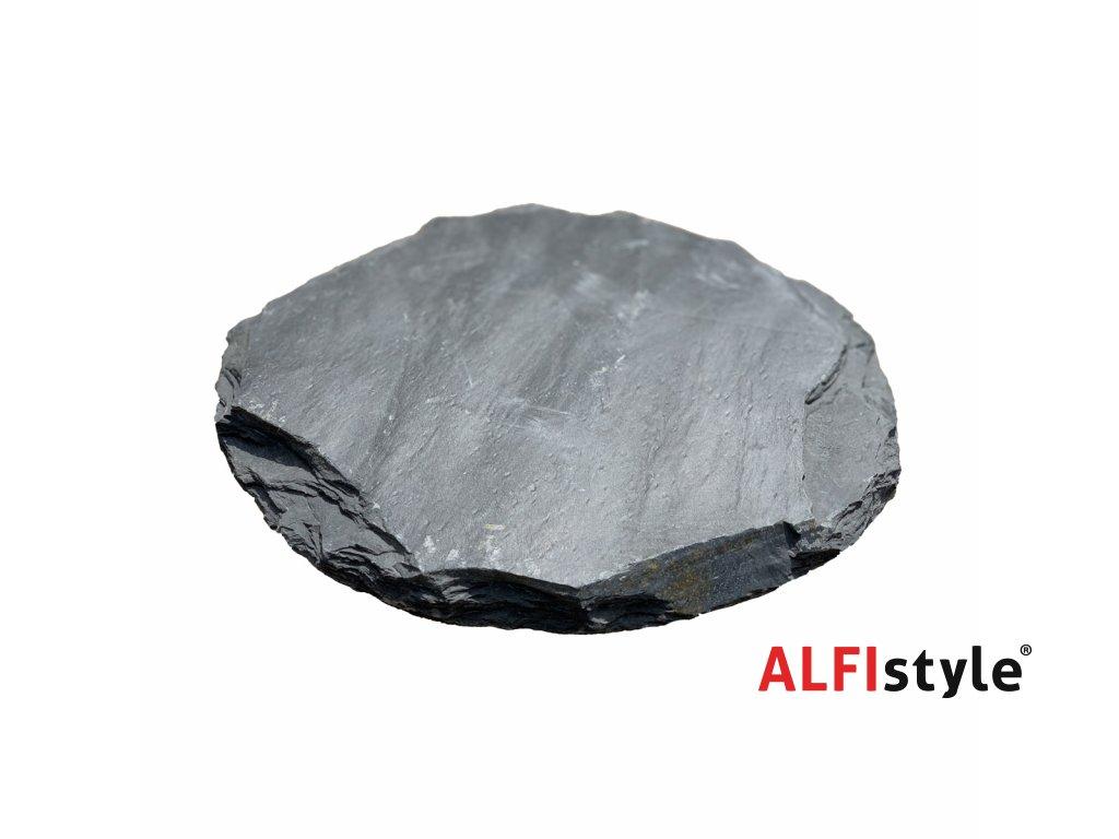 Nášlapný kámen z břidlice, kulatý, tloušťka 2 - 4 cm, BL103